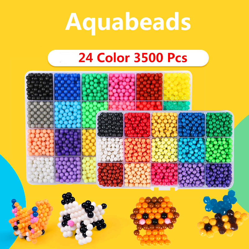 New AquaBeads 24 Colors 3500pcs Water Spray Magic DIY Hand Making 3D Toy Puzzle Educational Gift For Childrens
