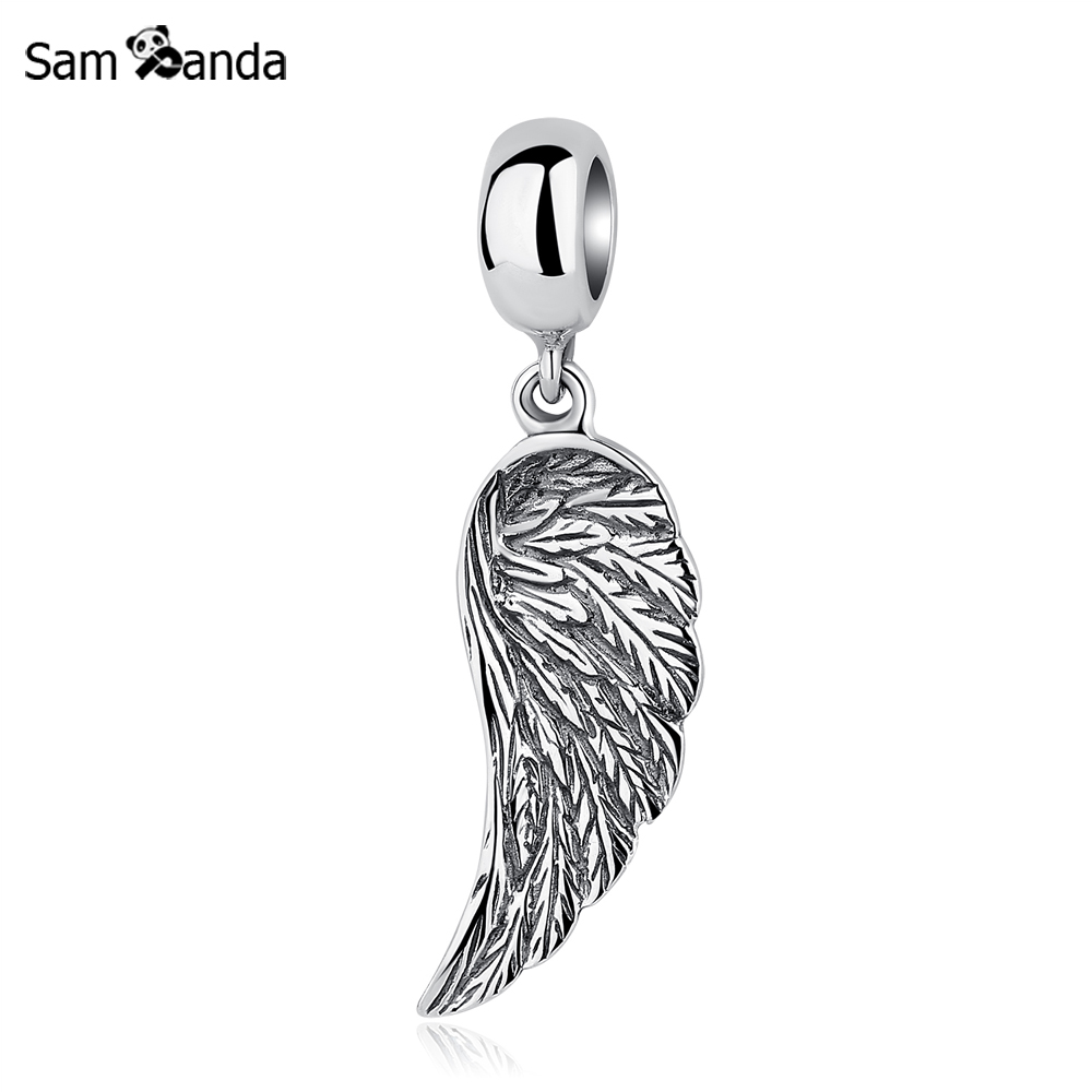 Authentic 925 Sterling Silver Beads Charms Angel Feather Wing Pendant Dangle Bead Fit Pandora Bracelets & Bangles DIY Jewlery