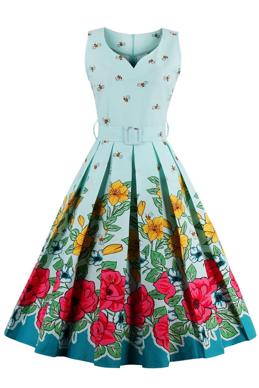 MisShow 2017 Floral Bee Print Vintage Dresses 1950s Cute Party Dress ...