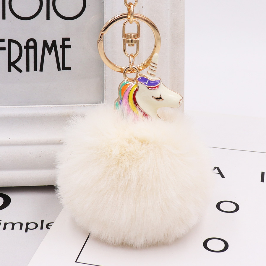 1c7d49b2a9 Cute Metal Unicorn KeyChain Plush Toy Pendant Women Fluffy Fur Bag Hang  Plush Toy Free Shipping-in Movies   TV from Toys   Hobbies on  Aliexpress.com ...