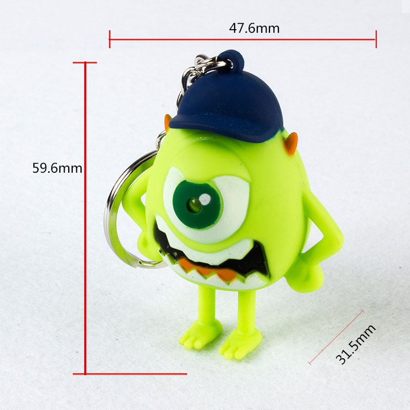 Fashion Green Baseball keychain FLASHLIGHT Keyrings Big Eyes talking angry monster LED wazowski toy Kids Luminous Sound Light
