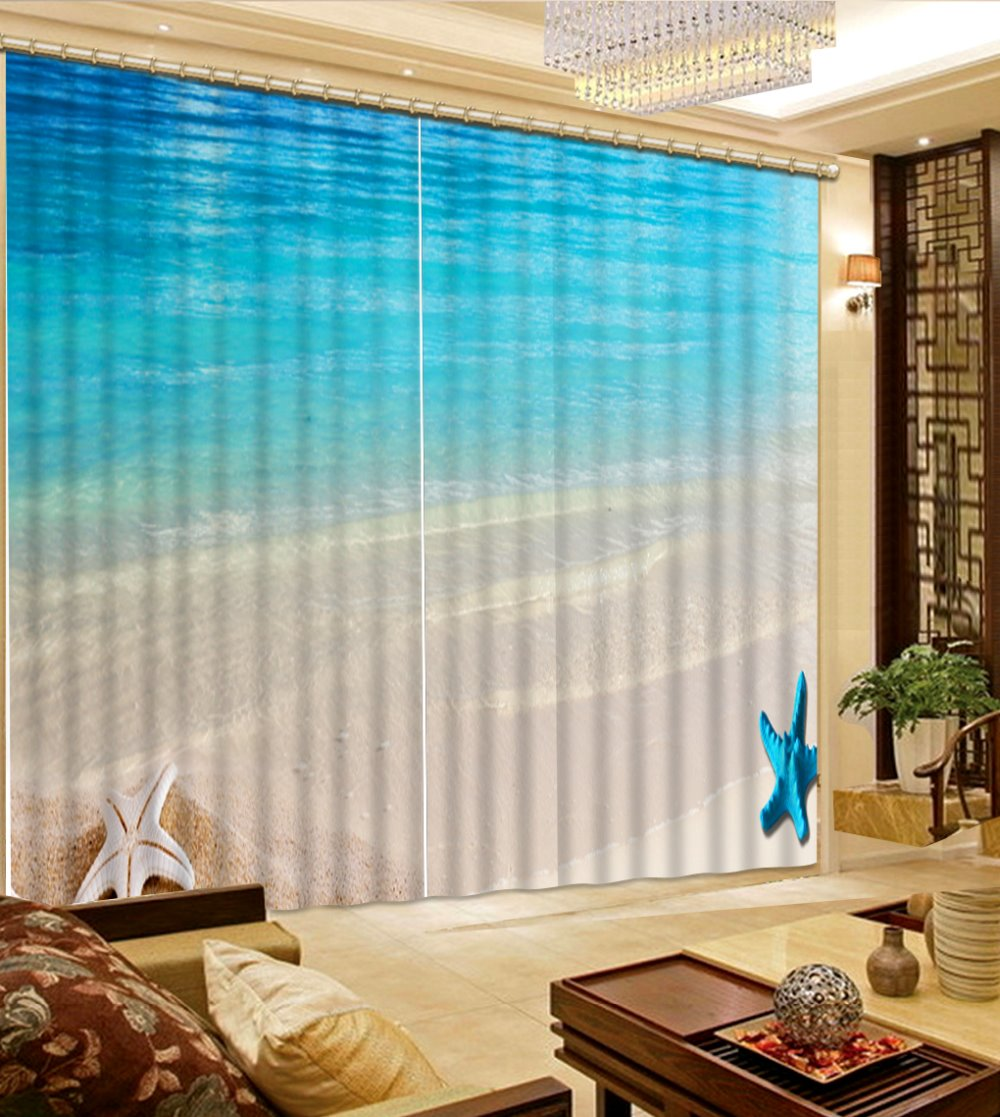 custom 3d blackout curtains Surf the beach kitchen window bedroom ...