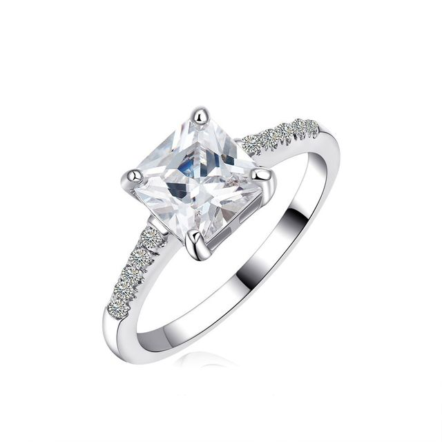 f97701add3 1.6 Carat Princess Cut AAA CZ Diamond Silver Tone Promise Couple Rings  Engagement Wedding Rings for Women and Men Size 5-10