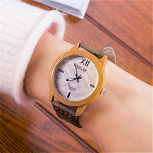 Unisex Fashion simulation Bamboo Wooden Wristwatch With Leather Casual Men Cowhide Leather Band Lovers Wood Watches Women Gift