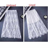 Белая кружевная прямая юбка с цветочной вышивкой и эластичной резинкой на талии, сетчатая Нижняя юбка, трусики, длинное летнее нижнее белье ...