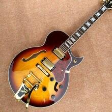 Wholesale custom shop  jazz hollow body electric guitar honey sunburst f-hole with gold hardware Tremolo system