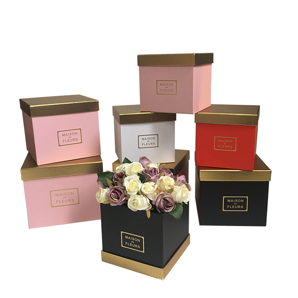 3pcs/set Gold Color Cover Square Flower Packing Box  Christmas Thanksgiving Gift Box ,Valentines's Day Gift Box 2019 New Design