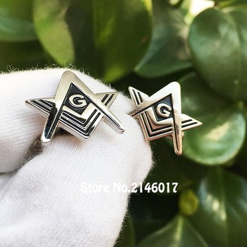 10pairs Square and Compass G Soft Enamel Polished Men's Cufflink Sleeve Pins Button Silver Color 20mm Quality Masonic Cuff Links