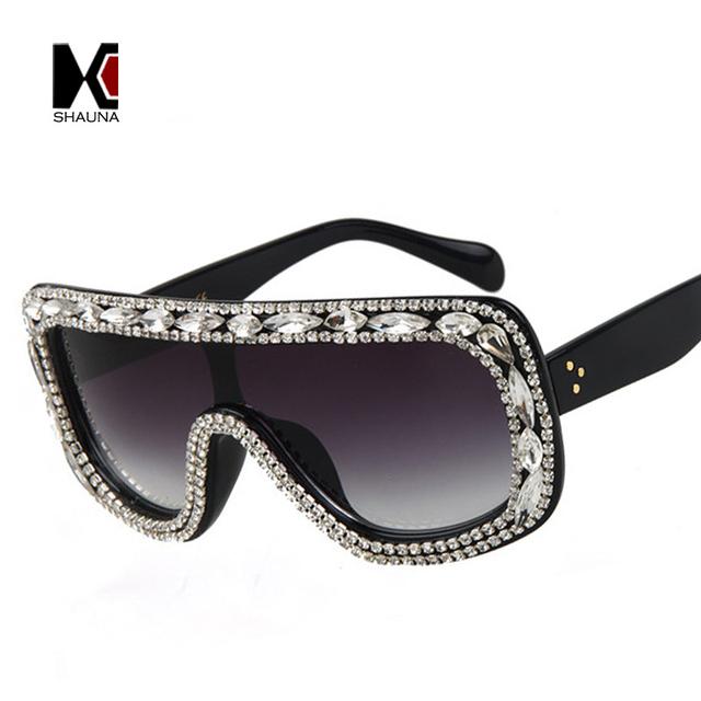SHAUNA Moda Mulheres Crystal Decoração Siameses óculos de Sol Brilhando Strass Aro de Óculos de Sol