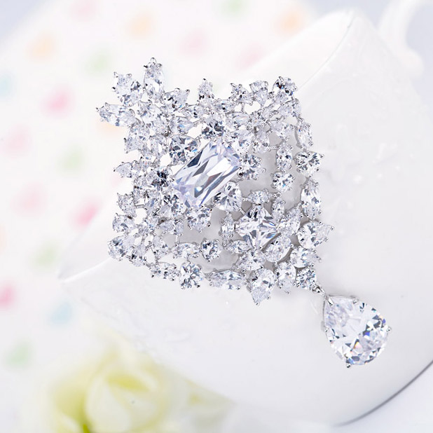 LUOTEEMI Grosir Wedding Bouquet Bros Mewah AAA Grade Putih Cubic - Perhiasan fashion - Foto 4