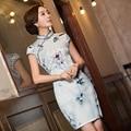 Chinês Qipao Vestido de seda Cheongsam Vestido de Verão Das Mulheres de Manga Curta Plus Size Cheongsam Flores Vestidos Vestidos de Seda Oriental