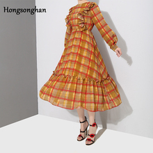 Hongsonghan 2019 temperament all-match womens Korean version of new spring summer dress retro plaid flare blazer tide