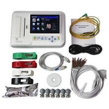 С сенсорным дисплеем 6-канальный электрокардиограф 12-цельный кабель ЭКГ/аппарат для ЭКГ + программное обеспечения для подключения к компьютеру + принтер, ECG600G