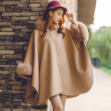 2016 New real cashmere pashmina for women, high quality luxury natural fox fur trim loose cape plus size female poncho