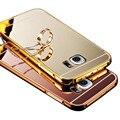 Espelho case para samsung galaxy s7 edge s6 edge moldura de alumínio de metal + espelho acrílico tampa traseira para samsung s6 s5 s4 s3 case