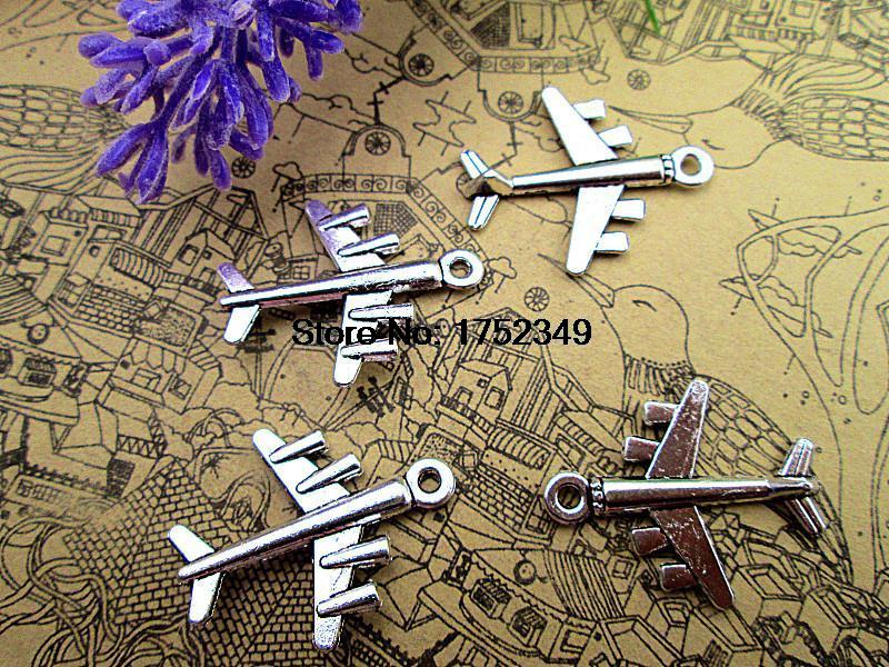 20pcs Airplane Charms Antique Tibetan Silver Tone 3D 23x28mm image