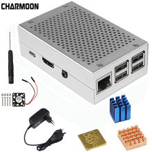 For Raspberry Pi 3 Model B+ Aluminum Case Silver Metal Case +5V 3A Power Supply +5V / 3.3V Cooling Fan With Screws Heat Sink(China)