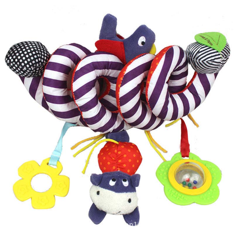 New Arrival Winding Hanging Cow Bird Flower Shape Cute Plush Activity Crib Bell Stroller Baby Soft Toys for Baby Carriage TY new activity spiral stroller car seat travel lathe hanging toys baby rattles toy