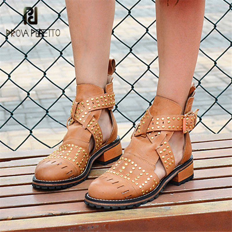 Prova Perfetto Full Rivets Studded Ankle Boots for Women Hollow Out Low Heel Summer Boots Short Martin Boot Casual Shoes Woman цены онлайн