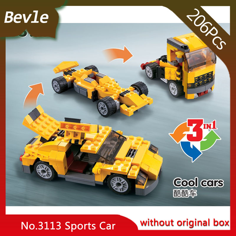 Bevle магазин лепин 3113 206 шт. 3 деформации серии крутой автомобиль модель строительные блоки кирпич детей игрушки decool