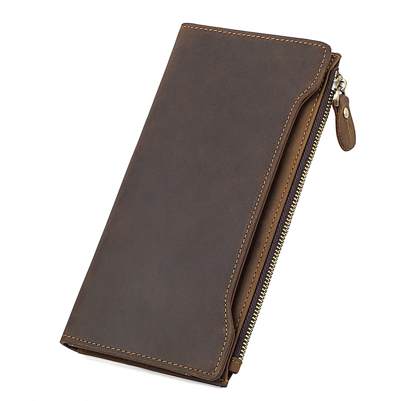 все цены на New Crazy Horse Genuine Leather Wallet Men's Multi-functions RFID Credit Card Holder Pures Special Boarding Pass Wallets онлайн