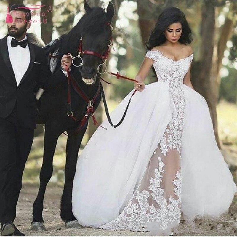 2019 Vintage Lace Off the Shoulder Mermaid Wedding Dresses Gorgeous Arabic Overskirt Sheer Detachable Wedding Bridal Gowns JQ172 in Wedding Dresses from Weddings Events