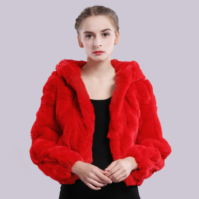 2019 New Style Winter Genuine Real Rex Fur Jacket Women Fashion Brand Rex Rabbit Fur Coat Natural Rex Rabbit Fur Hooded Overcoat