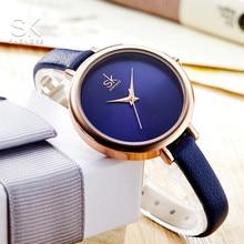 Shengke new Quartz ladies watch Leather Women Watches Wristwatch Royal Blue Strap Slim relogio feminino box for choice все цены