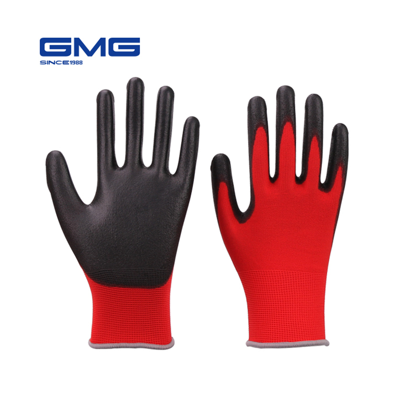 hot-sale-gmg-ce-certificated-en388-red-polyester-black-pu-work-safety-gloves-mechanic-working-gloves