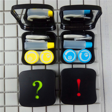 Cute Contact Lens Case With Mirror Symbols Portable Holder Lenses Box For Travel Container Spectacle Random Color