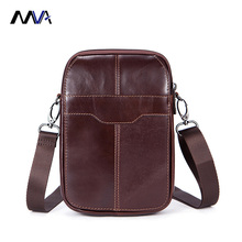 MVA Genuine Leather Small Bags Men Leather Belt Waist Pack Messenger Bags Phone Pouch Fanny Pack Crossbody Bag