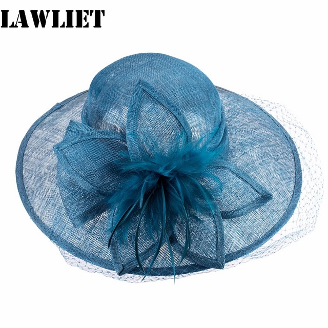 Womens Sinamay Wide Brim Flower Feather Derby Church Dress Hat  Women Sun Hat Ladies HatsT144