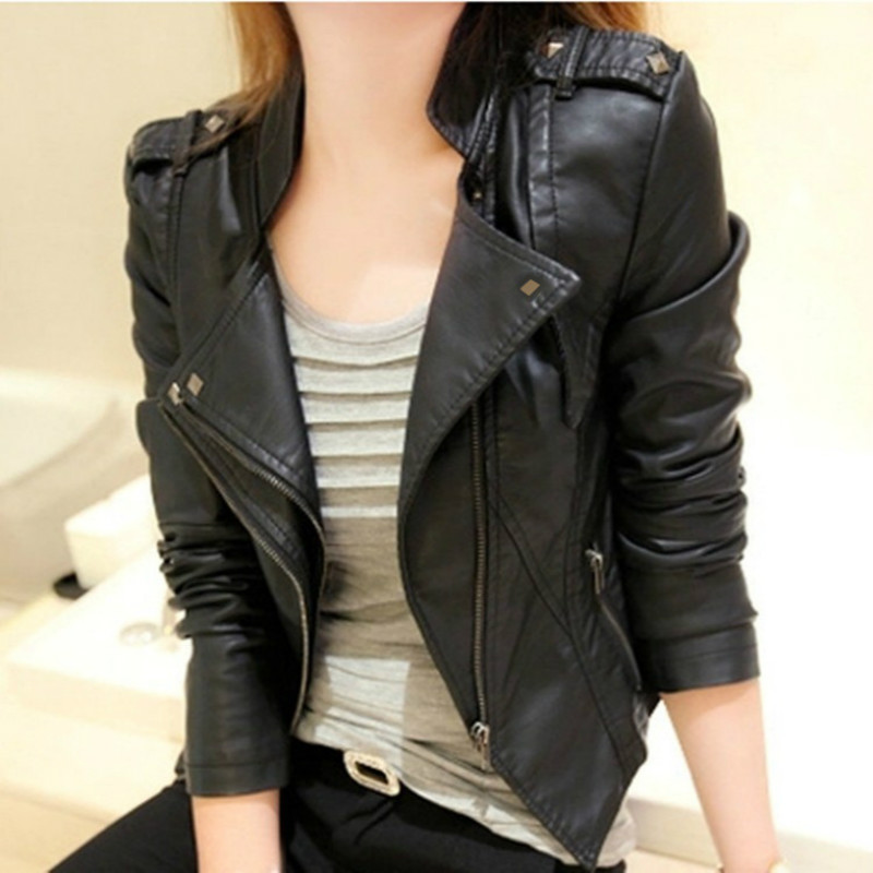 Autumn Korean New Fashion Women Faux   Leather   Stand Collar Jackets Lady Motorcycle Zippers Female Biker Rivet Short Coats Top