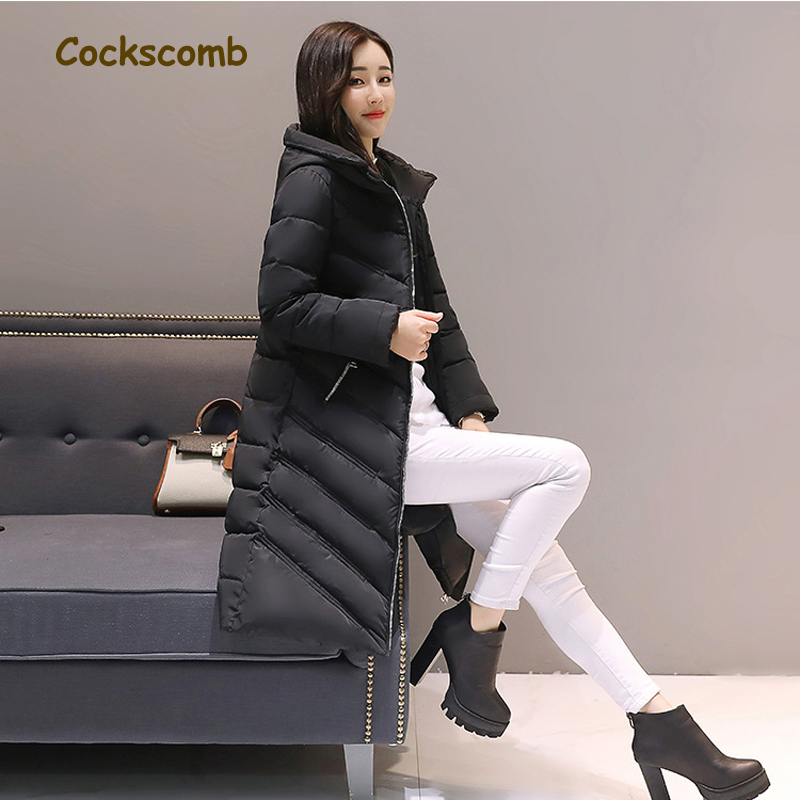 Cockscomb Brand Detachable Hood Women's Winter Parkas Woman Zipper Stiped Winter Coat Female Jacket 2017 New Arrival