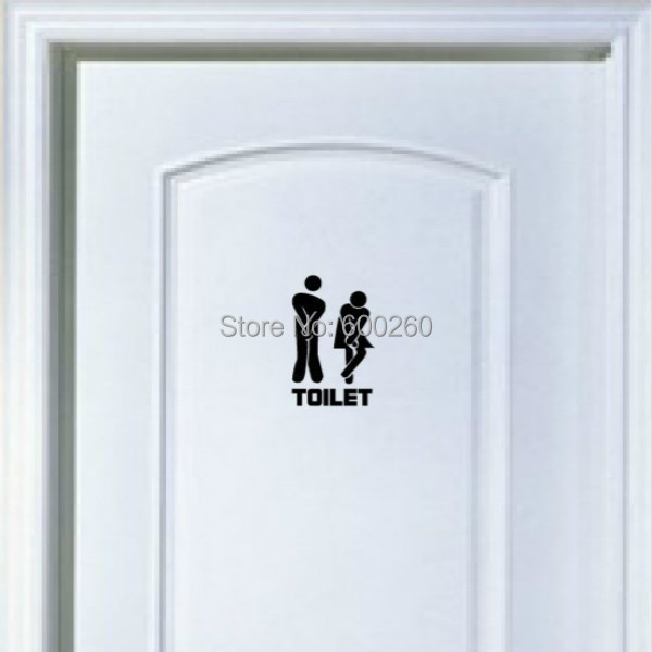 2015 New Funny Toilet Entrance Sign Decal Vinyl Sticker For Shop Office Home Cafe Hotel FREE SHIPPING
