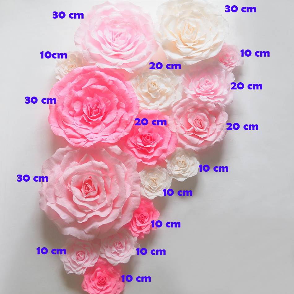 2019 Crepe Large Paper Flowers Wedding Backdrop Handmade