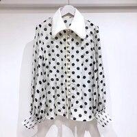 Белая блузка Топ для женщин летние элегантные в горошек Леди Блузка с длинным рукавом 2019 офисные простые Новые