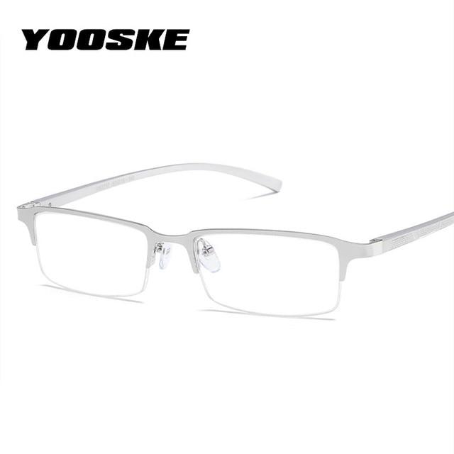 YOOSKE Mens Business Glasses Transparent Lens Aluminum Magnesium Eyeglasses Frame Male Blue Light Filter Eyewear frames