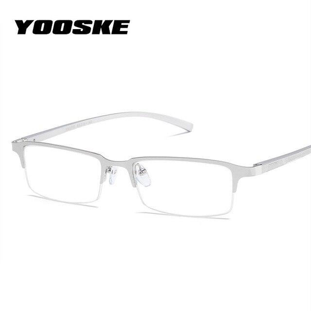 cd74cd09c YOOSKE Negócio Mens Óculos de Lente Transparente Azul Filtro de Luz de  Alumínio E Magnésio Óculos