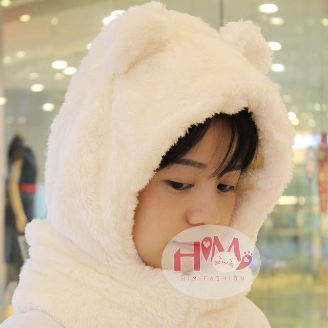 2017 New Fashion Cotton Warm Animal Hoodies Hat Scarf White Fluffy Warm One Piece Set Cute Bear Winter Caps For Women Girls