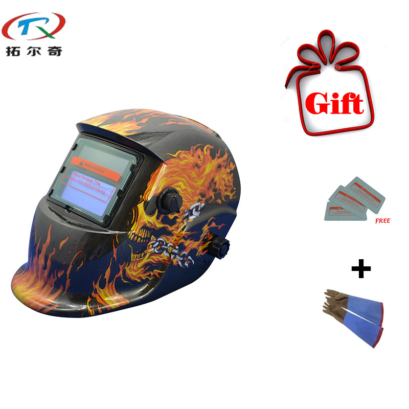 MIG TIG Shading New Free Gift Welder Cap Skull Glass Filters Automatic Welding Helmet/Welding Mask TRQ-HD07 with 2233de-G newest welding glass anti collision version welding eye protection glass welding helmet pc welding mask