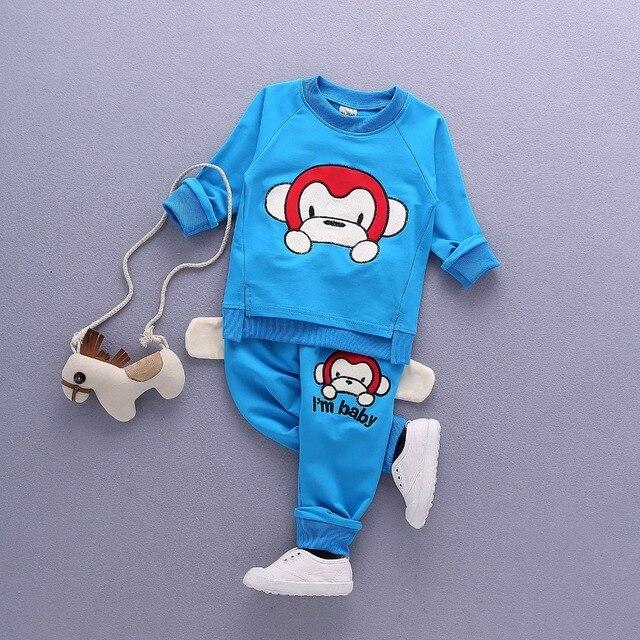2017 новый большой обезьяна вышивка весна одежда детская одежда мальчик мальчик костюм костюм шею шеи мультфильм 0-3 лет брюки