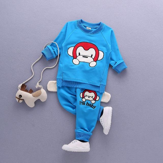 2017 nueva gran mono bordado primavera ropa ropa de bebé niño chico traje traje de cuello redondo cuello de la historieta 0-3 años de edad + pantalones