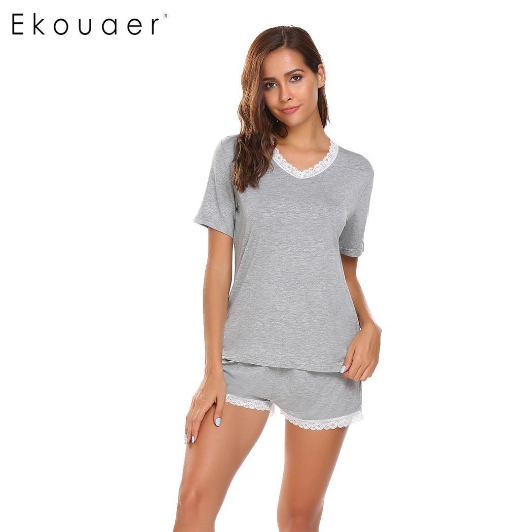 Ekouaer Casual Pajamas Women Loose V-Neck Short Sleeve Sleepwear Summer Lace-trimmed Tops with Elastic Waist Shorts Pjs Sets ...