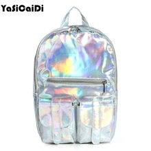 2017 Mochila masculina рюкзак Для женщин Серебро Голограмма лазерная рюкзак мужская кожаная сумка голографическая рюкзак многоцветный