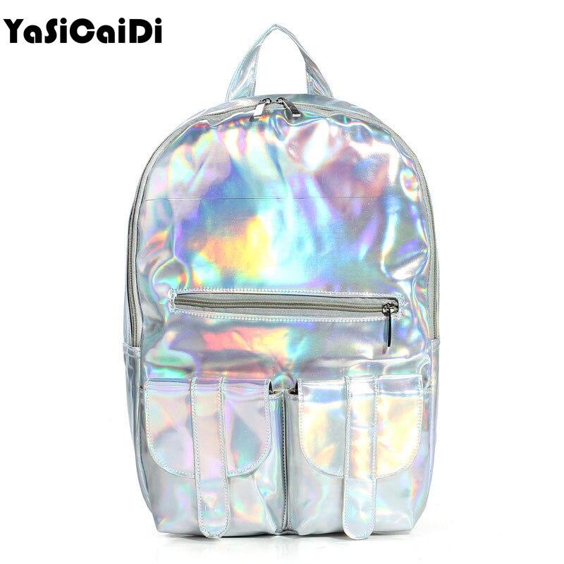 2016 Mochila Masculina backpack Women Silver Hologram Laser Backpack men's Bag leather Holographic Backpack Multicolor
