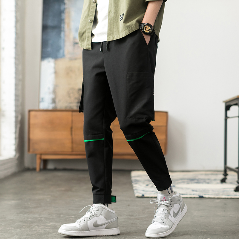 Latest Collection Of Only Discount Today Cargo Pants For Men Black Japanese Style Fashion High Street Stripe Pocket Homme Cargo Pants Zipper Elastic Men's Clothing