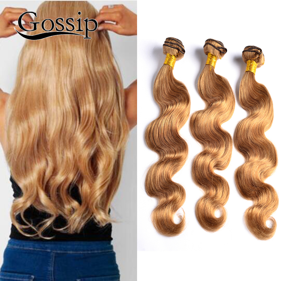 Honey Blonde Brazilian Hair Weave Bundles 27 Blonde Brazilian Virgin Hair Body Wave 3 Pcs Blonde Human Hair Bundles Blonde Weave