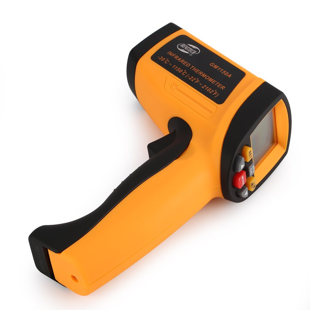 BENETECH GM1150A Infrared Thermometer Non Contact Infrared Temperature Pyrometer IR Laser Point Gun -30~1150 Degree Drop Ship benetech gm1650 infrared thermometer non contact pyrometer ir laser point gun with backlight 200 1650 degree for industial use