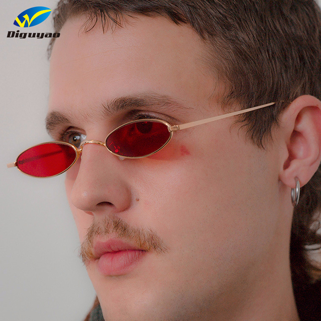 DIGUYAO kecil oval sunglasses untuk pria pria retro logam bingkai kuning  merah vintage kecil bulat kacamata dc047e61c5